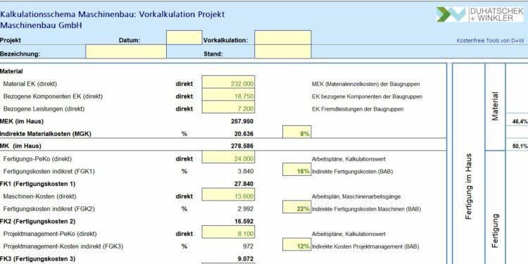 Kalkulation von Maschinen – kostenfreies Excel-Tool