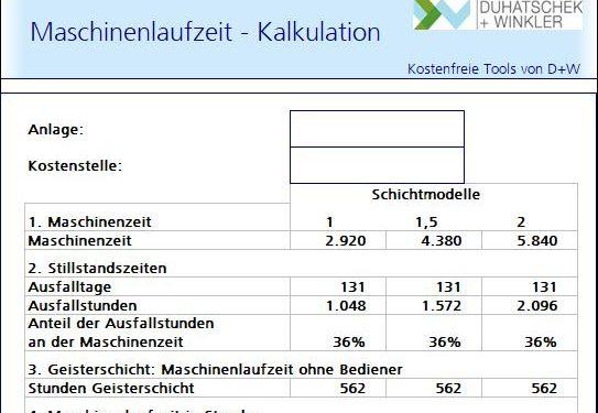 Maschinenlaufzeit berechnen – kostenfreies Excel-Tool